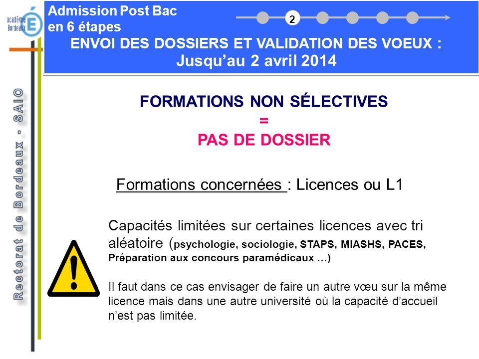 Admission Post Bac en 6 étapes FORMATIONS NON SÉLECTIVES = PAS DE DOSSIER Formations concernées : Licences ou L1 Capacités limitées sur certaines lice