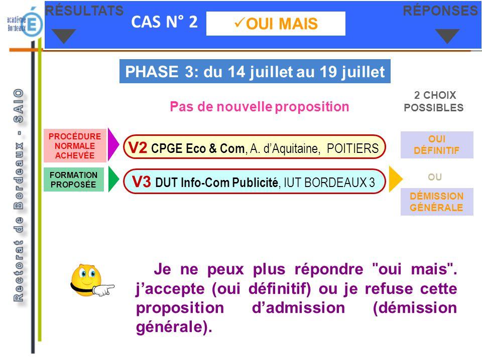 CAS N° 2 OUI MAIS RÉSULTATSRÉPONSES V3 DUT Info-Com Publicité, IUT BORDEAUX 3 V2 CPGE Eco & Com, A. dAquitaine, POITIERS PHASE 3: du 14 juillet au 19