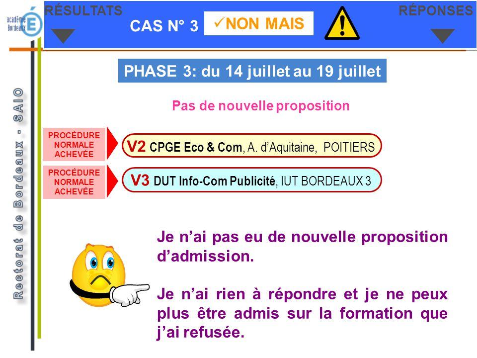 CAS N° 3 NON MAIS RÉSULTATSRÉPONSES V3 DUT Info-Com Publicité, IUT BORDEAUX 3 V2 CPGE Eco & Com, A. dAquitaine, POITIERS PHASE 3: du 14 juillet au 19