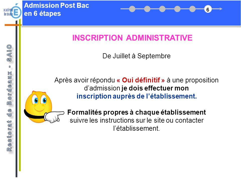 Admission Post Bac en 6 étapes De Juillet à Septembre Après avoir répondu « Oui définitif » à une proposition dadmission je dois effectuer mon inscrip