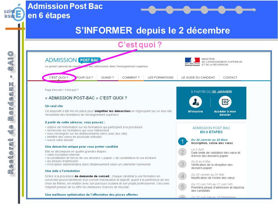 Admission Post Bac en 6 étapes Cest quoi ? SINFORMER depuis le 2 décembre