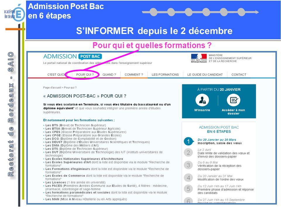 Admission Post Bac en 6 étapes SINFORMER depuis le 2 décembre Pour qui et quelles formations ?