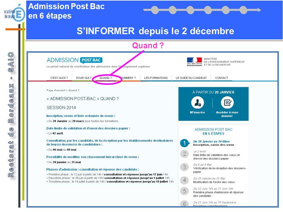 Admission Post Bac en 6 étapes SINFORMER depuis le 2 décembre Comment ?