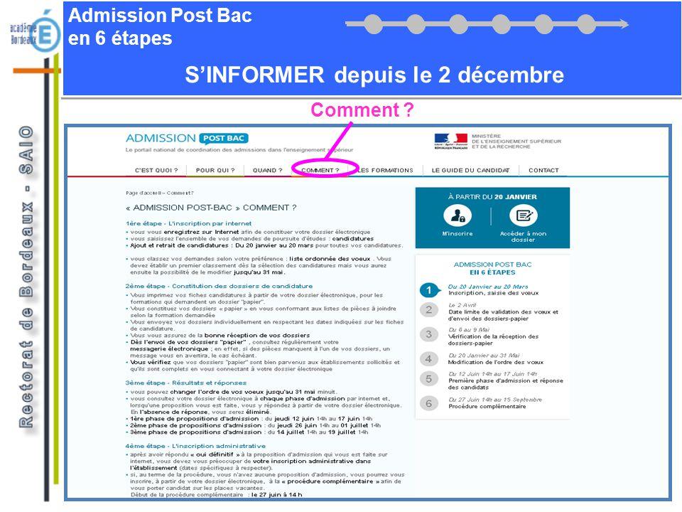 Admission Post Bac en 6 étapes SINFORMER depuis le 2 décembre Télécharger le guide du candidat