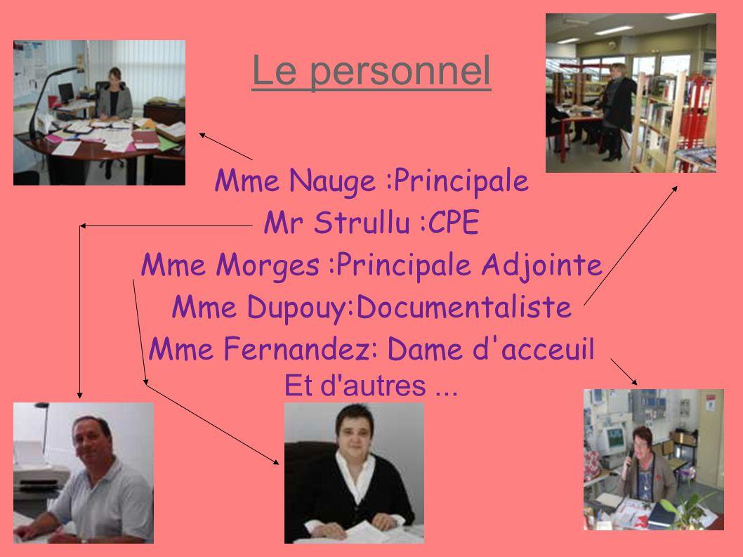 Le personnel Mme Nauge :Principale Mr Strullu :CPE Mme Morges :Principale Adjointe Mme Dupouy:Documentaliste Mme Fernandez: Dame d'acceui l Et d'autre