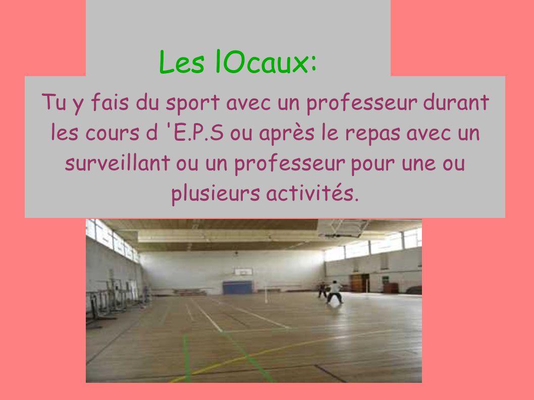 Les lOcaux: Le gymnase Tu y fais du sport avec un professeur durant les cours d 'E.P.S ou après le repas avec un surveillant ou un professeur pour une
