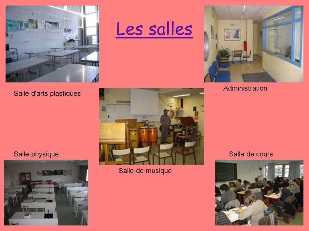 Les salles Salle d'arts plastiques Administration Salle physique Salle de musique Salle de cours