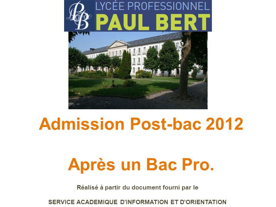 Admission Post-bac 2012 Après un Bac Pro. Réalisé à partir du document fourni par le SERVICE ACADEMIQUE D'INFORMATION ET D'ORIENTATION