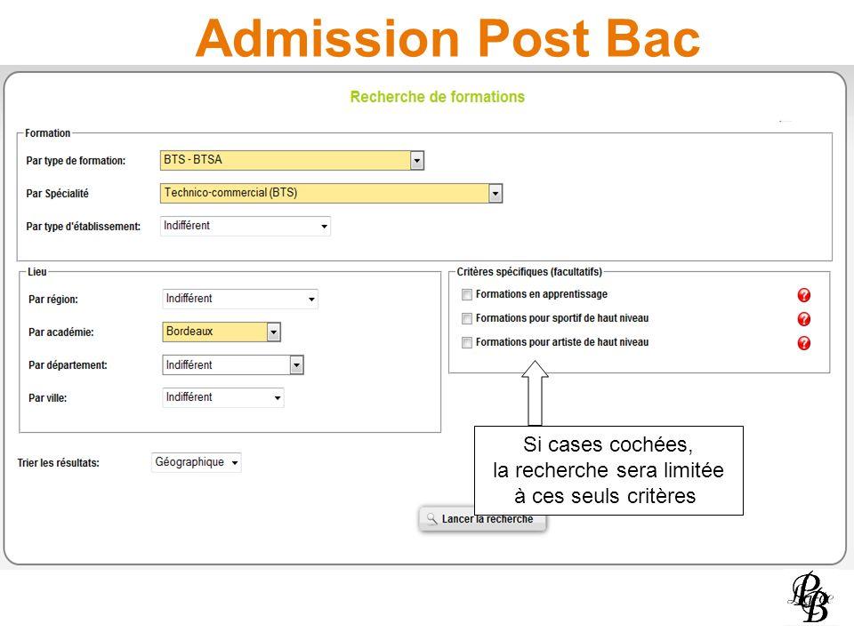 Admission Post Bac Si cases cochées, la recherche sera limitée à ces seuls critères
