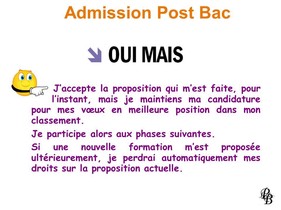 Admission Post Bac Jaccepte la proposition qui mest faite, pour linstant, mais je maintiens ma candidature pour mes vœux en meilleure position dans mo