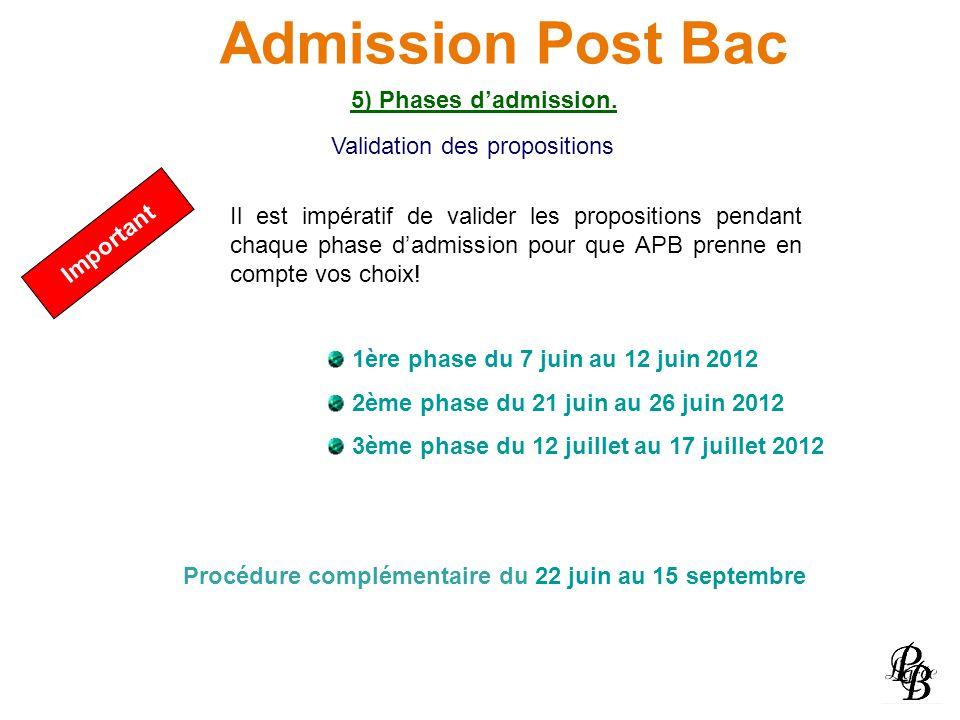 Admission Post Bac 5) Phases dadmission. Important Il est impératif de valider les propositions pendant chaque phase dadmission pour que APB prenne en