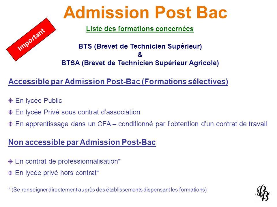 Admission Post Bac Liste des formations concernées BTS (Brevet de Technicien Supérieur) & BTSA (Brevet de Technicien Supérieur Agricole) Accessible pa
