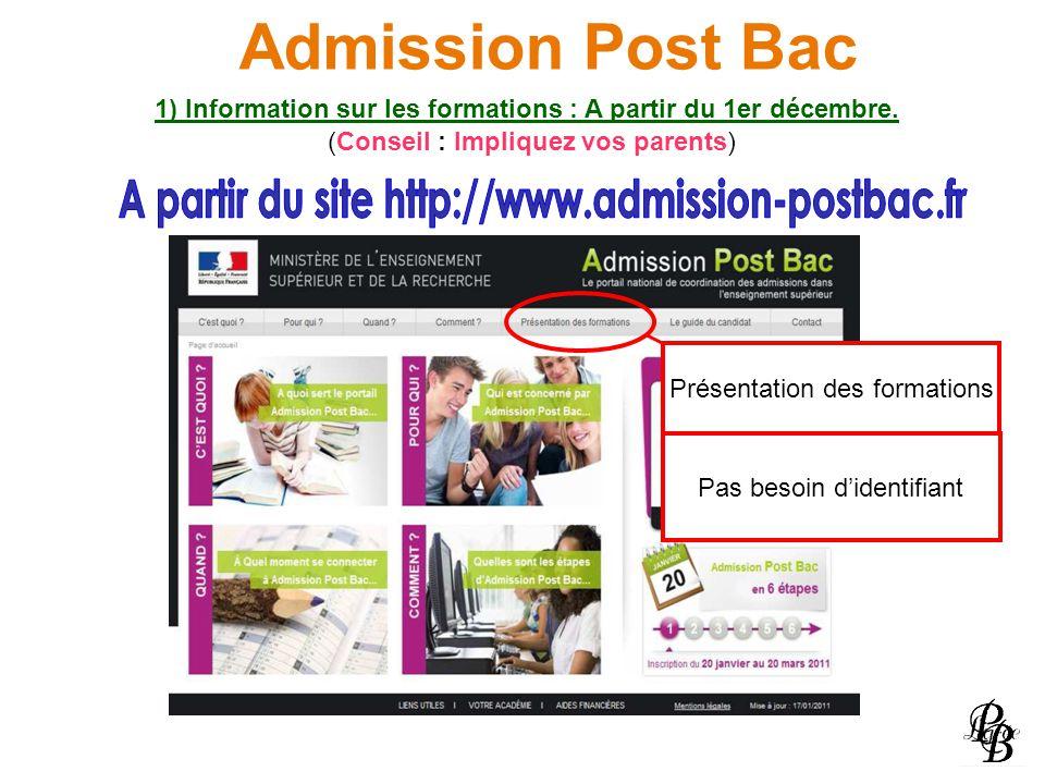 Admission Post Bac 1) Information sur les formations : A partir du 1er décembre. (Conseil : Impliquez vos parents) Présentation des formations Pas bes