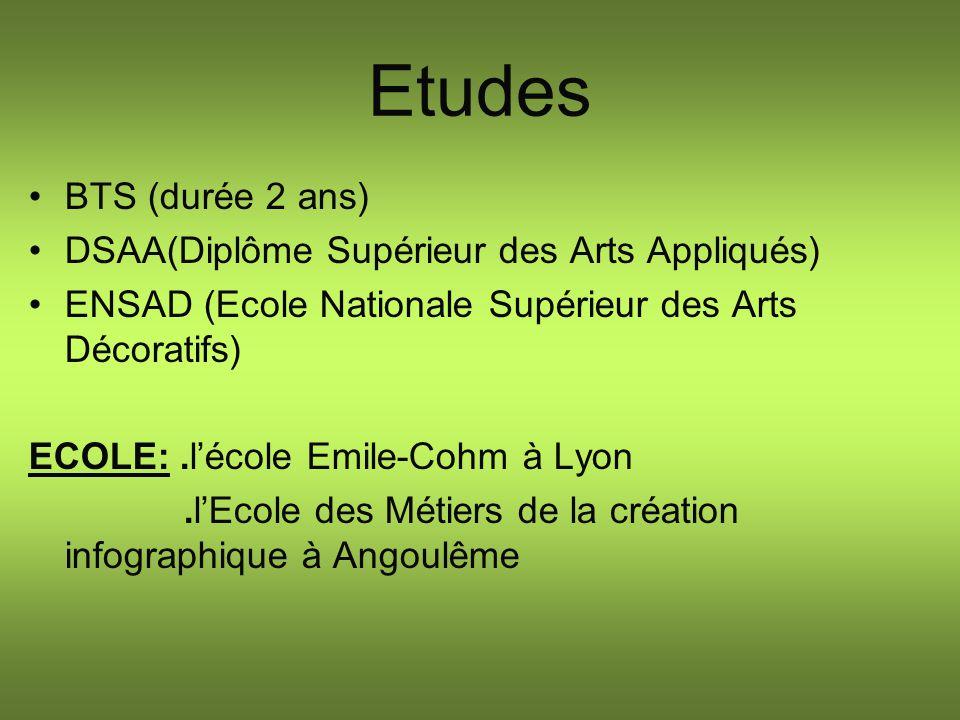 Etudes BTS (durée 2 ans) DSAA(Diplôme Supérieur des Arts Appliqués) ENSAD (Ecole Nationale Supérieur des Arts Décoratifs) ECOLE:.lécole Emile-Cohm à L