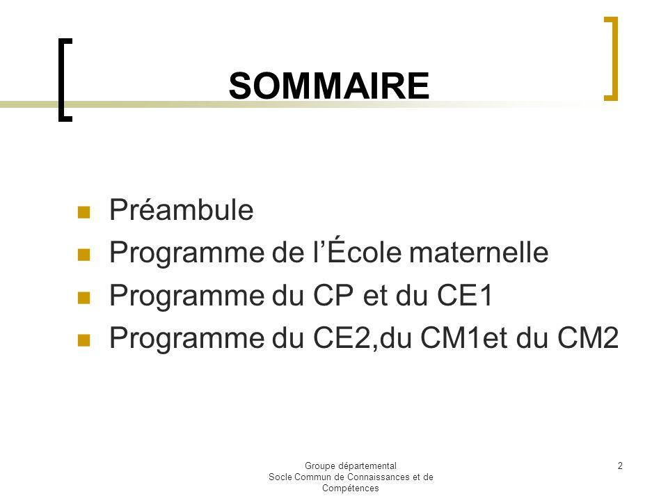 Groupe départemental Socle Commun de Connaissances et de Compétences 2 SOMMAIRE Préambule Programme de lÉcole maternelle Programme du CP et du CE1 Pro