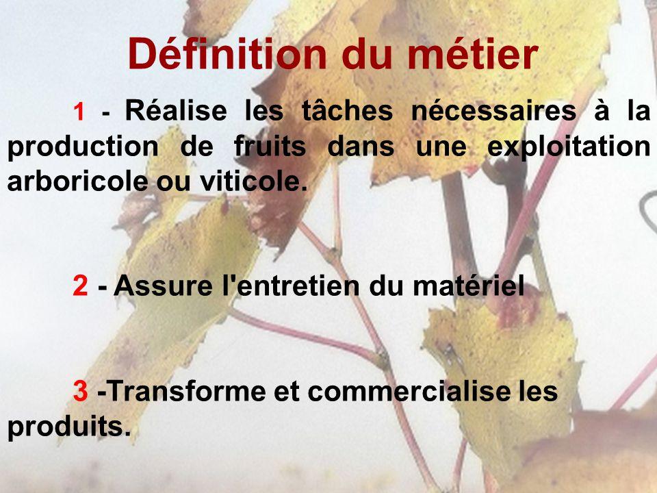 Définition du métier 1 - Réalise les tâches nécessaires à la production de fruits dans une exploitation arboricole ou viticole. 2 - Assure l'entretien