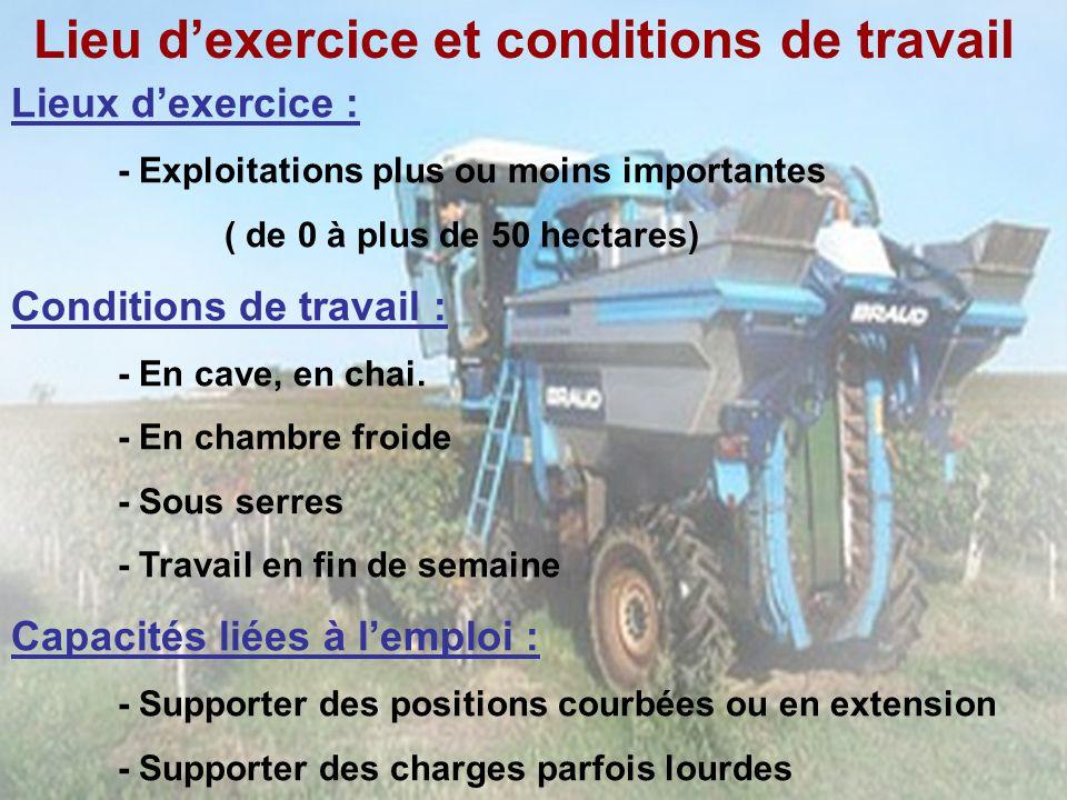 Lieu dexercice et conditions de travail Lieux dexercice : - Exploitations plus ou moins importantes ( de 0 à plus de 50 hectares) Conditions de travai
