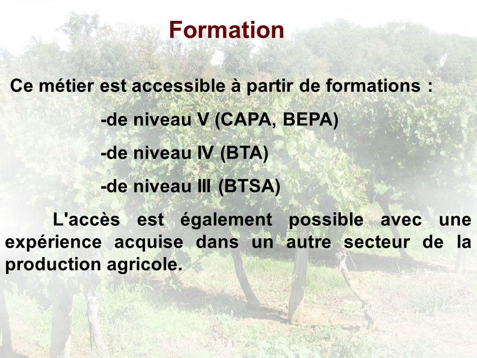 Formation Ce métier est accessible à partir de formations : -de niveau V (CAPA, BEPA) -de niveau IV (BTA) -de niveau III (BTSA) L'accès est également