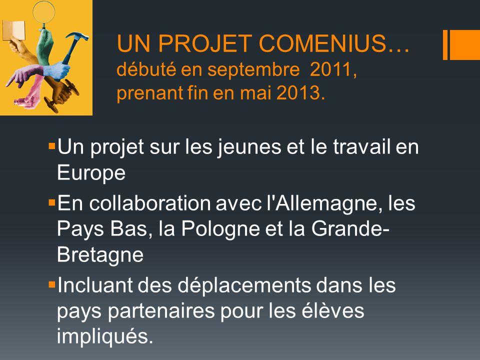 UN PROJET COMENIUS… débuté en septembre 2011, prenant fin en mai 2013. Un projet sur les jeunes et le travail en Europe En collaboration avec l'Allema