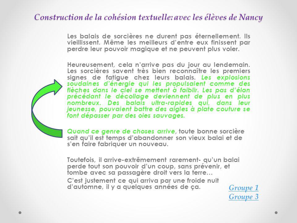 Construction de la cohésion textuelle: avec les élèves de Nancy Les balais de sorcières ne durent pas éternellement.
