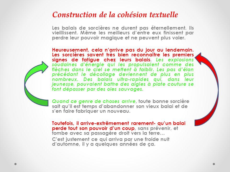 Construction de la cohésion textuelle Les balais de sorcières ne durent pas éternellement.