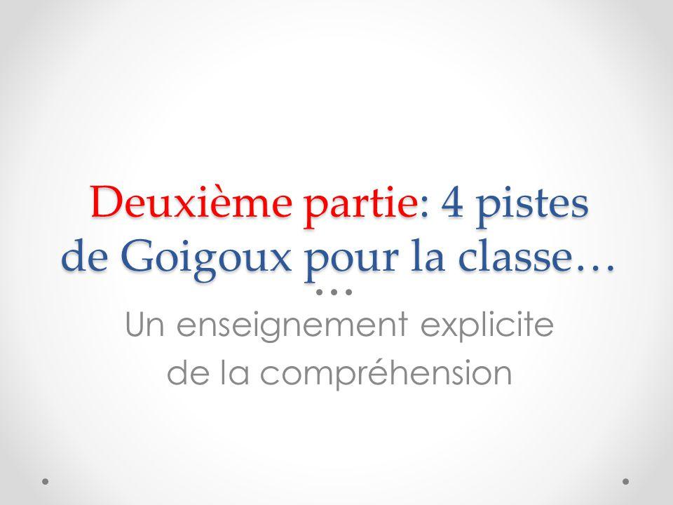 Deuxième partie: 4 pistes de Goigoux pour la classe… Un enseignement explicite de la compréhension