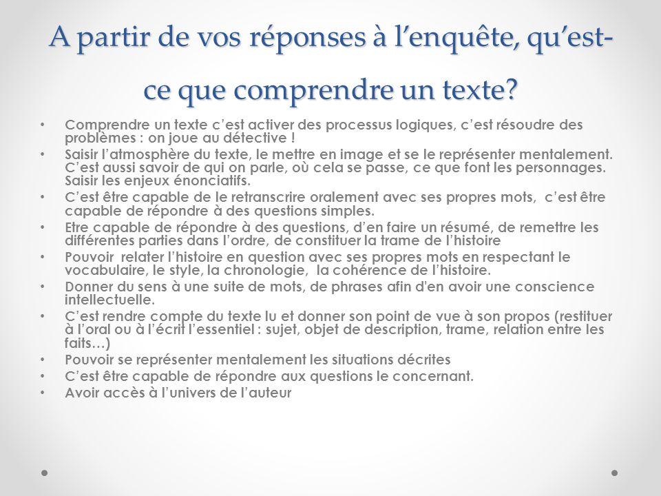 A partir de vos réponses à lenquête, quest- ce que comprendre un texte.