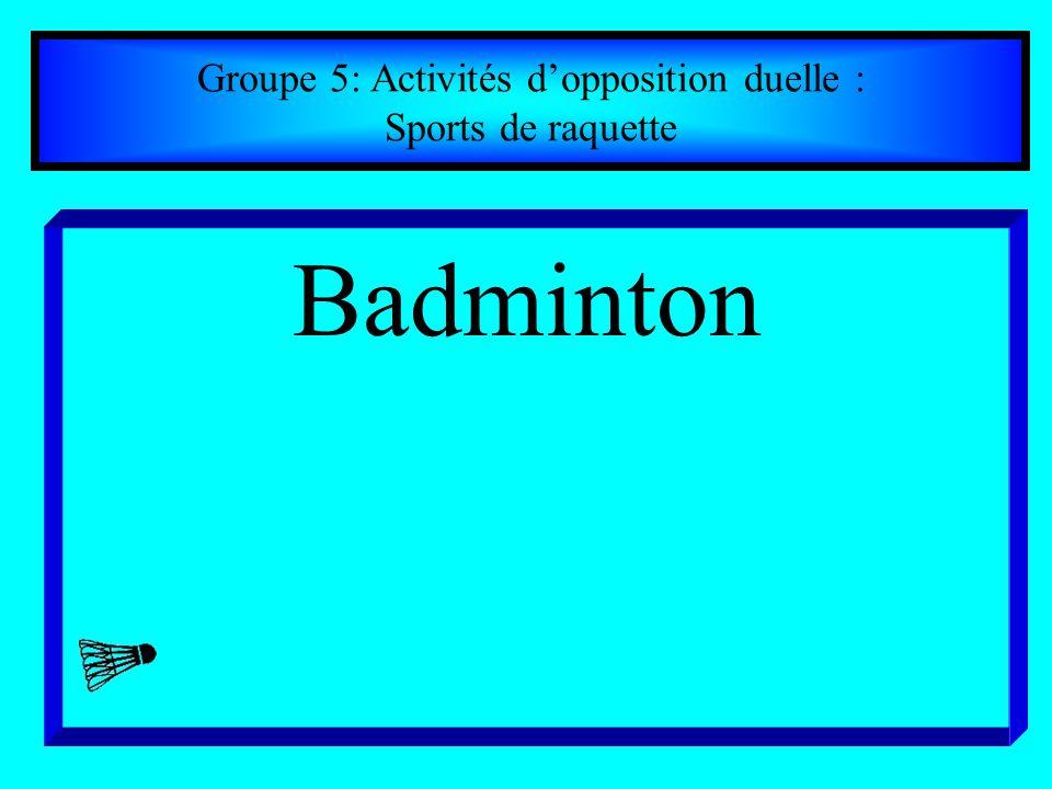 Groupe 5: Activités dopposition duelle : Sports de raquette Badminton
