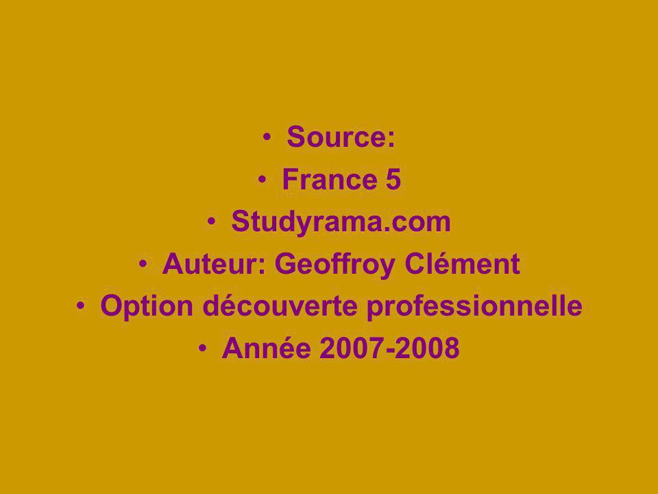 Source: France 5 Studyrama.com Auteur: Geoffroy Clément Option découverte professionnelle Année 2007-2008