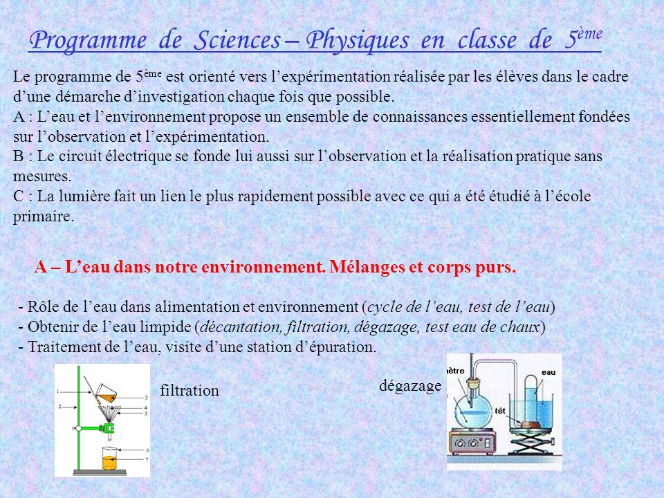 Programme de Sciences – Physiques en classe de 5 ème Le programme de 5 ème est orienté vers lexpérimentation réalisée par les élèves dans le cadre dun