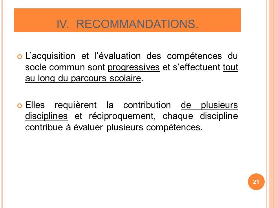 Lacquisition et lévaluation des compétences du socle commun sont progressives et seffectuent tout au long du parcours scolaire. Elles requièrent la co
