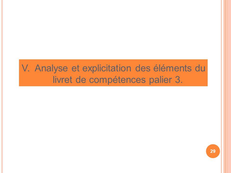 V. Analyse et explicitation des éléments du livret de compétences palier 3. 29
