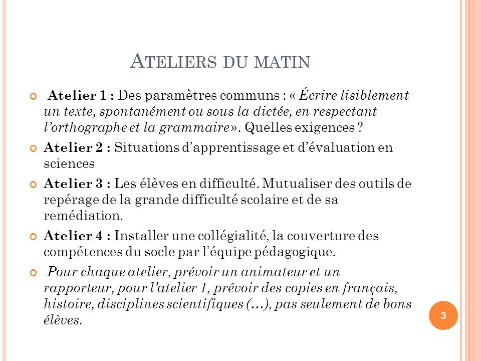 A TELIERS DU MATIN Atelier 1 : Des paramètres communs : « Écrire lisiblement un texte, spontanément ou sous la dictée, en respectant lorthographe et l