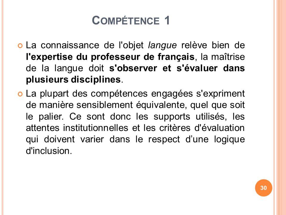 C OMPÉTENCE 1 La connaissance de l'objet langue relève bien de l'expertise du professeur de français, la maîtrise de la langue doit s'observer et s'év