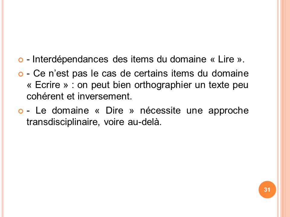 - Interdépendances des items du domaine « Lire ». - Ce nest pas le cas de certains items du domaine « Ecrire » : on peut bien orthographier un texte p