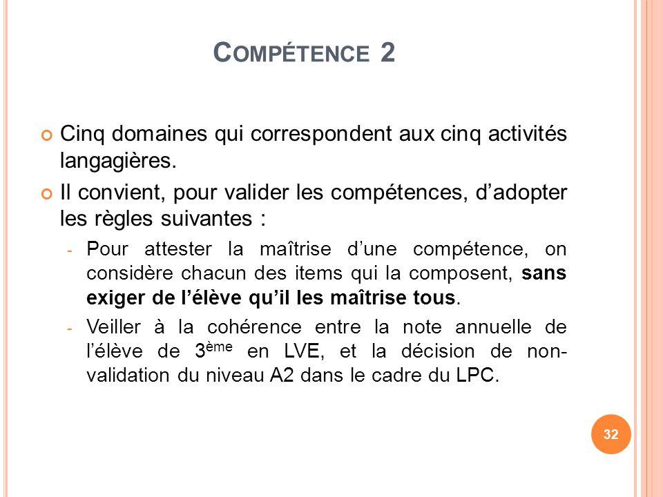 C OMPÉTENCE 2 Cinq domaines qui correspondent aux cinq activités langagières. Il convient, pour valider les compétences, dadopter les règles suivantes