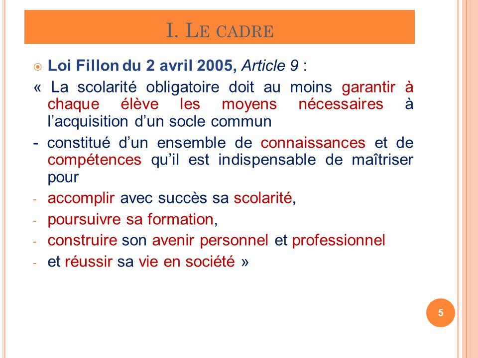 I. L E CADRE 5 Loi Fillon du 2 avril 2005, Article 9 : « La scolarité obligatoire doit au moins garantir à chaque élève les moyens nécessaires à lacqu