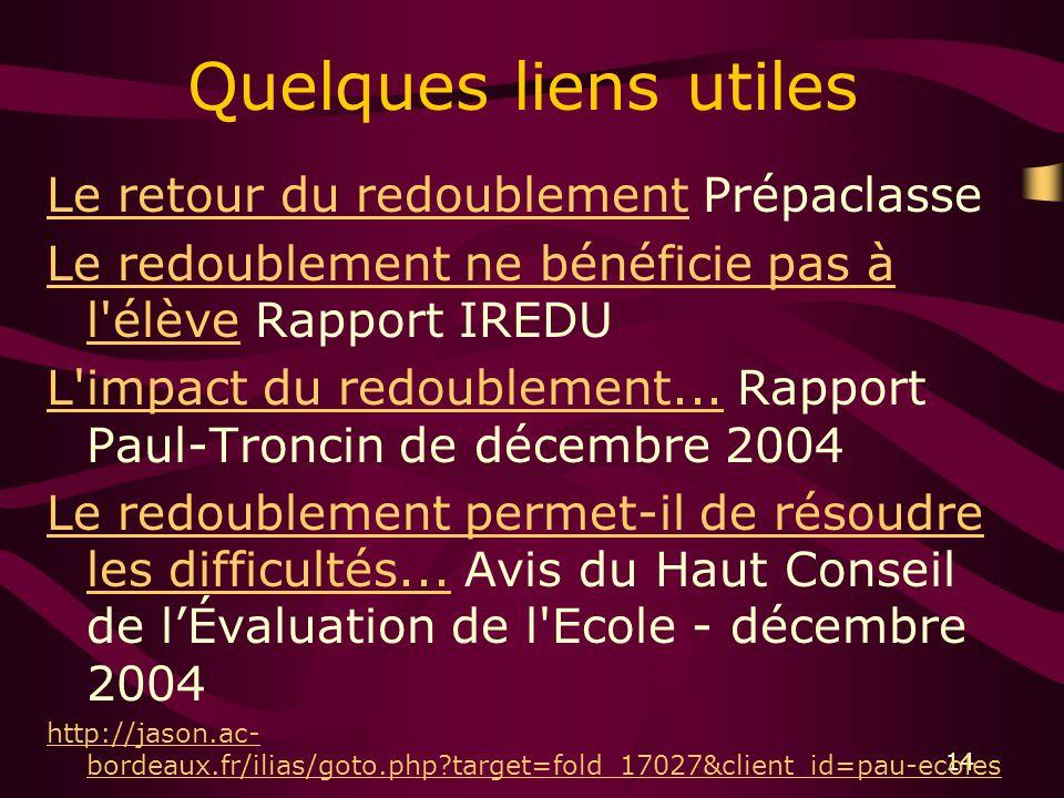 14 Quelques liens utiles Le retour du redoublementLe retour du redoublement Prépaclasse Le redoublement ne bénéficie pas à l élèveLe redoublement ne bénéficie pas à l élève Rapport IREDU L impact du redoublement...L impact du redoublement...