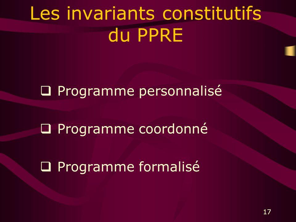 17 Les invariants constitutifs du PPRE Programme personnalisé Programme coordonné Programme formalisé