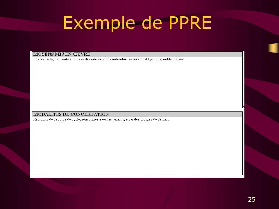 25 Exemple de PPRE