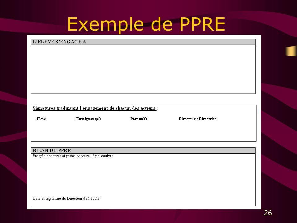 26 Exemple de PPRE