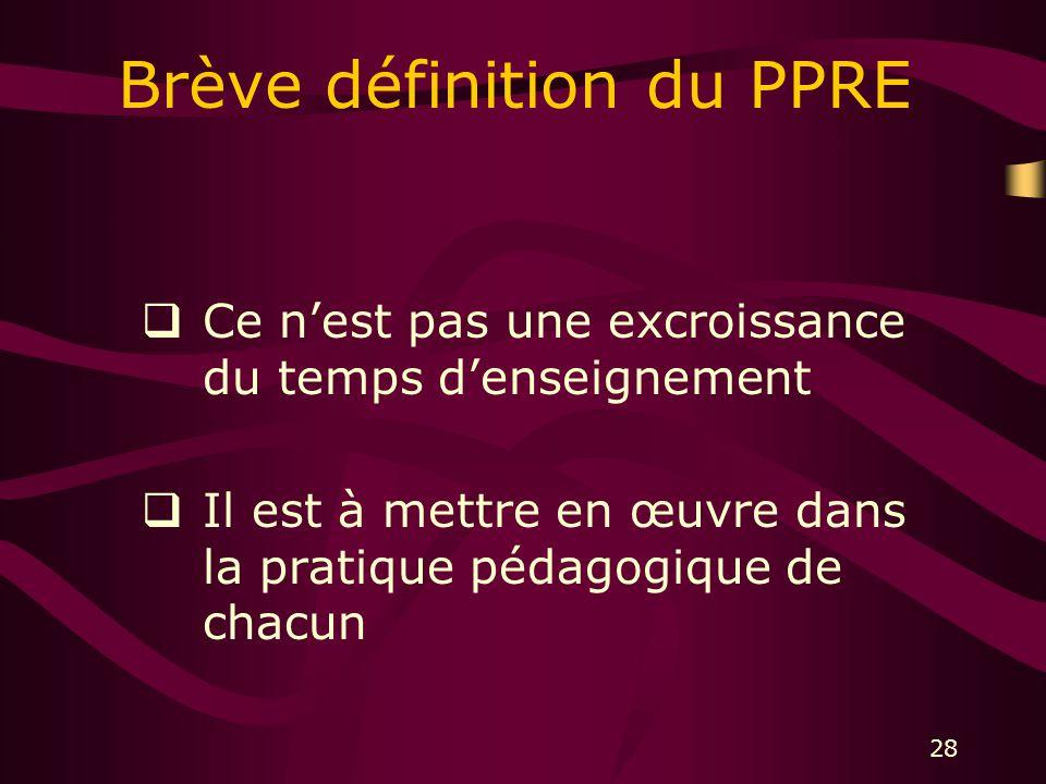 28 Brève définition du PPRE Ce nest pas une excroissance du temps denseignement Il est à mettre en œuvre dans la pratique pédagogique de chacun