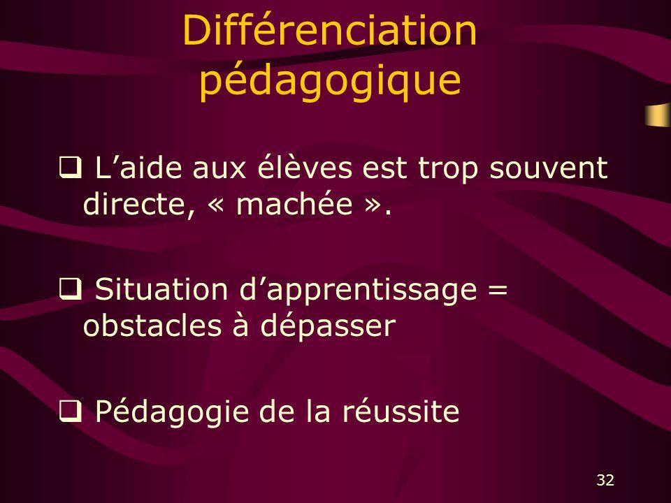 32 Différenciation pédagogique Laide aux élèves est trop souvent directe, « machée ».