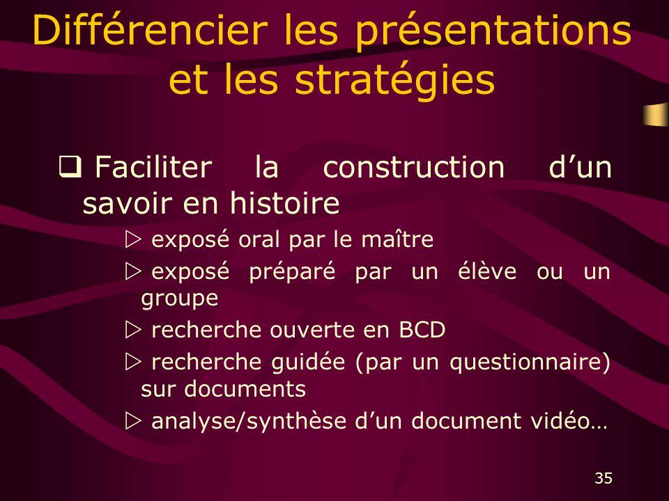 35 Différencier les présentations et les stratégies Faciliter la construction dun savoir en histoire exposé oral par le maître exposé préparé par un élève ou un groupe recherche ouverte en BCD recherche guidée (par un questionnaire) sur documents analyse/synthèse dun document vidéo…