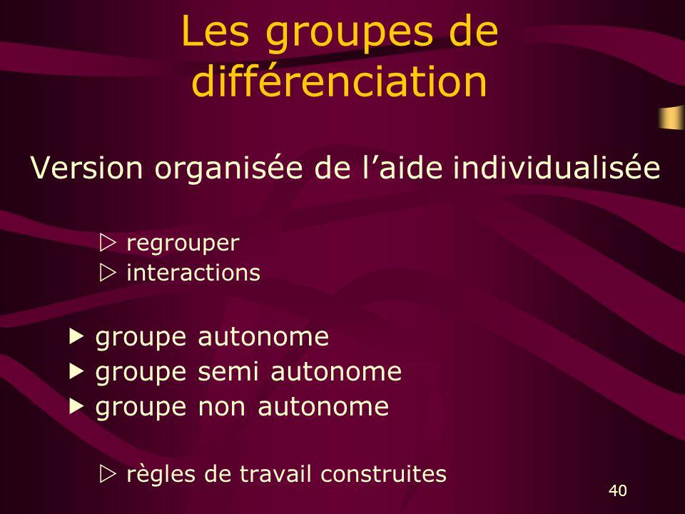 40 Les groupes de différenciation Version organisée de laide individualisée regrouper interactions groupe autonome groupe semi autonome groupe non autonome règles de travail construites