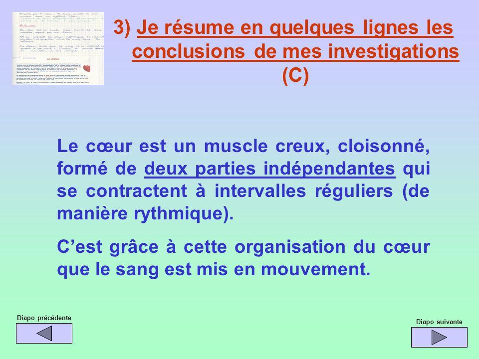 3) Je résume en quelques lignes les conclusions de mes investigations (C) Le cœur est un muscle creux, cloisonné, formé de deux parties indépendantes