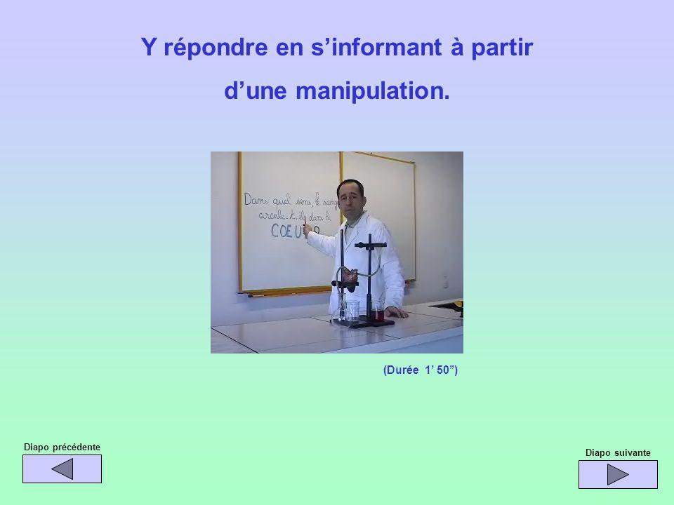 Diapo précédente Diapo suivante Y répondre en sinformant à partir dune manipulation. (Durée 1 50)