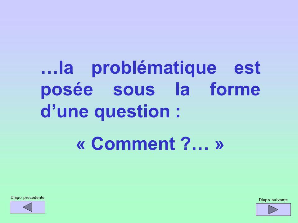 …la problématique est posée sous la forme dune question : « Comment ?… » Diapo précédente Diapo suivante