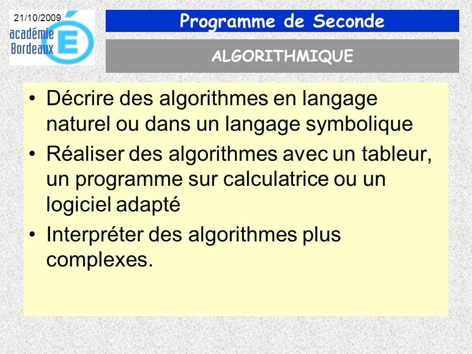 Programme de Seconde 21/10/2009 ALGORITHMIQUE Décrire des algorithmes en langage naturel ou dans un langage symbolique Réaliser des algorithmes avec un tableur, un programme sur calculatrice ou un logiciel adapté Interpréter des algorithmes plus complexes.