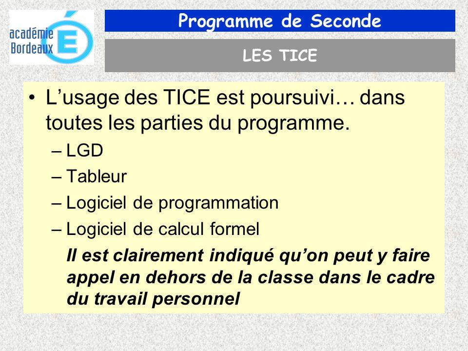 Programme de Seconde LES TICE Lusage des TICE est poursuivi… dans toutes les parties du programme.